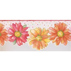 Retro Art Kids Floral Wallpaper Border - Pink/Orange