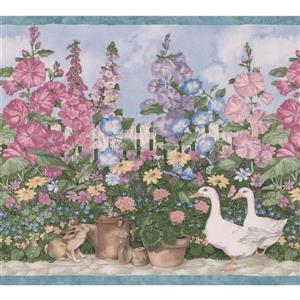 Retro Art Village Garden Wallpaper