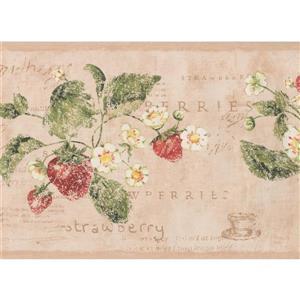 York Wallcoverings Vintage Flowers and Strawberries Wallpaper