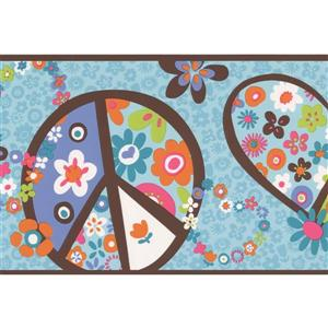York Wallcoverings Hearts and Peace Modern Wallpaper - Blue