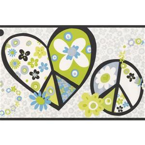 York Wallcoverings Hearts and Peace Modern Wallpaper - Green