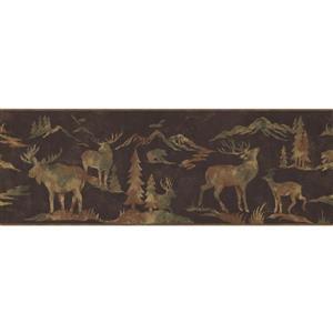 Retro Art Wildlife Outdoor Wallpaper - Brown