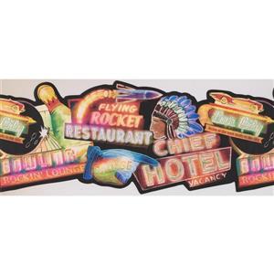 Retro Art Glowing Entertainment Wallpaper Border - Black