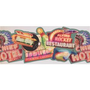 Retro Art Glowing Entertainment Wallpaper Border - Teal