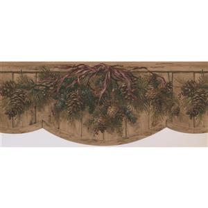 Retro Art Pine Cones and Branches Wallpaper