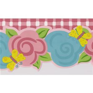 Norwall Kids Floral Wallpaper - Pink/Teal