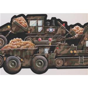 Retro Art Camouflage Truck Wallpaper Border