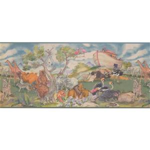 Retro Art Noah's Arc Animals Wallpaper Border - Teal
