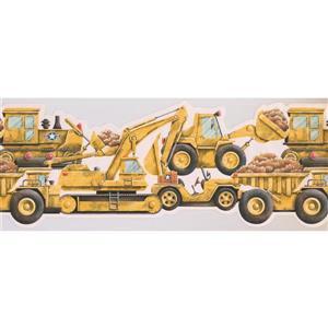Retro Art Kids Bulldozer Wallpaper Border - Yellow