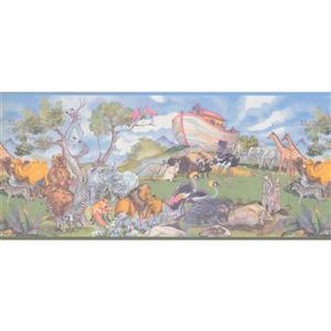 Retro Art Noah's Arc Animals Wallpaper Border - Blue