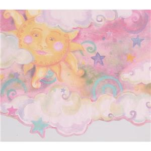 Retro Art Kids Sun and Clouds Wallpaper - Pink