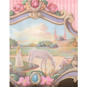 York Wallcoverings Princess and Horse Wallpaper - Pink