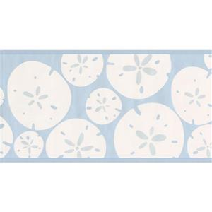York Wallcoverings Abstract White Circles Cerulean Blue Wallpaper Border Kids