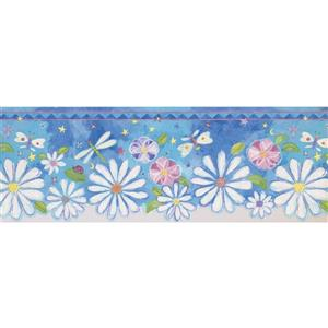 Retro Art Flowers and Dragonflies Wallpaper - Blue