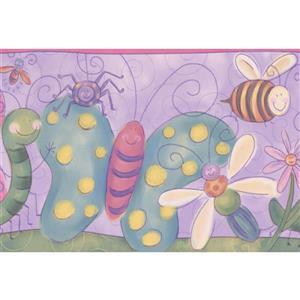 Retro Art Insects Wallpaper - Purple