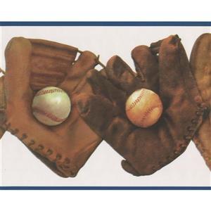 Retro Art Vintage Baseball Gloves and Balls Wallpaper Border