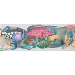 Retro Art Kids Colourful Fish Wallpaper - Teal