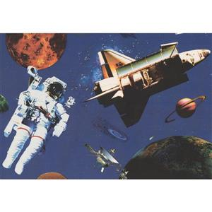 Retro Art Astronaut and Spaceship Wallpaper - Dark Blue