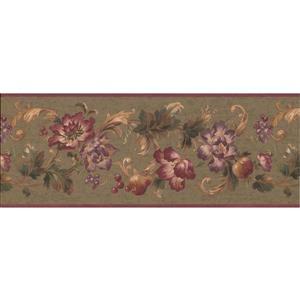 Retro Art Abstract Floral Wallpaper - Violet