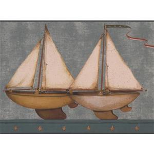 Retro Art Kids Sailboat Wallpaper Border - Blue