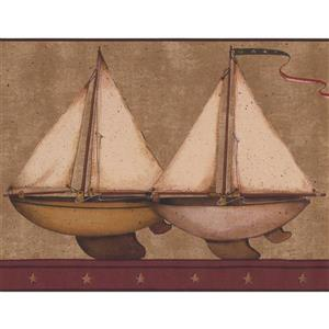 Retro Art Kids Sailboat Wallpaper Border - Brown