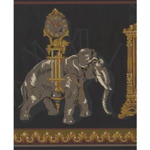 York Wallcoverings Antique Clocks Elephant Wallpaper