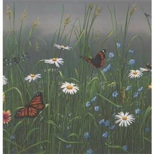 Retro Art Dandelions and Daisies Wallpaper