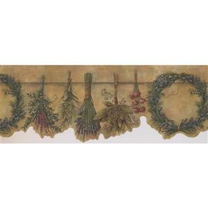 Retro Art Wreath and Flowers Wallpaper - Brown