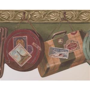 Retro Art Vintage Suitcases Wallpaper - Green