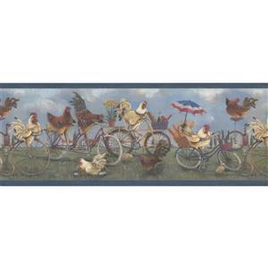 Retro Art Roosters on Bikes Wallpaper Border