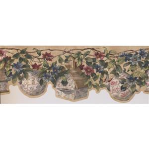 Retro Art Birdhouse and Flowers Wallpaper