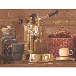 York Wallcoverings Coffee Beans and Espresso Machine Wallpaper Border
