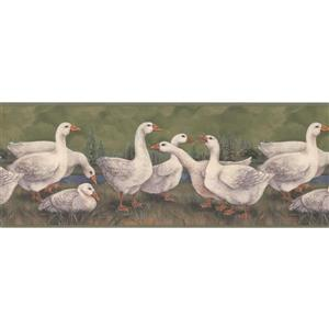 Retro Art White Ducks Wallpaper Border