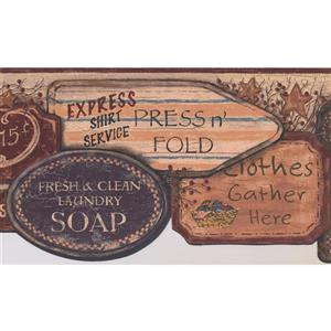 York Wallcoverings Vintage Laundry Signs Wallpaper