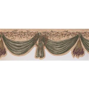 Retro Art Curtain and Berries Wallpaper - Green