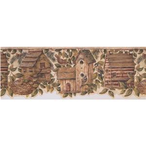 Retro Art Birdhouse and Sparrow Wallpaper - Beige