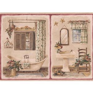 Retro Art Vintage Bathroom Wallpaper Border