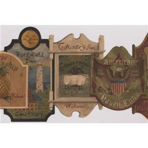 Retro Art Vintage Plaques Wallpaper Border