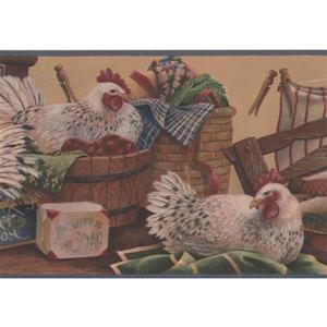 Retro Art Hens in Laundry Room Wallpaper