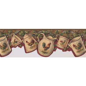 Retro Art Rooster Cup and Kettle Wallpaper - Brown