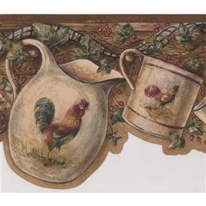Retro Art Rooster Cup and Kettle Wallpaper - Beige