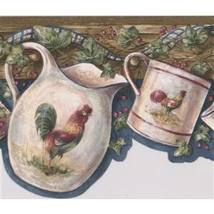 Retro Art Rooster Cup and Kettle Wallpaper - Blue
