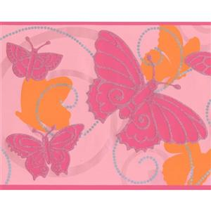 York Wallcoverings Butterfly Damask Wallpaper - Pink/Orange