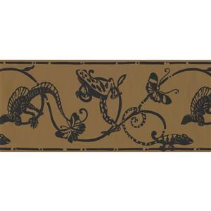 York Wallcoverings Lizard and Butterfly Damask Wallpaper - Black
