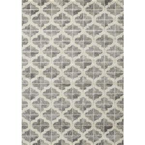 Juneau Grey White Textured Ogee Pattern Area Rug
