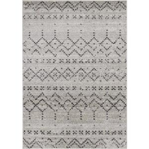 Converge Grey White Banded Tribal Motif Area Rug