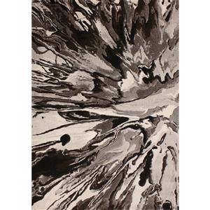 Kalora Platinum Abstract Rug - 3 x 5' - Black