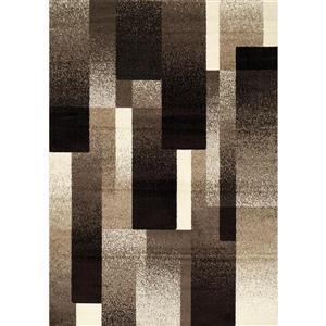 Casa Brown/Tan Overlapping Rectangles Area Rug