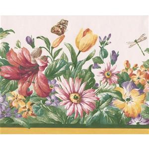 "Retro Art Wildflowers Butterfly Wallpaper Border - 15' x 8.5"" - White"
