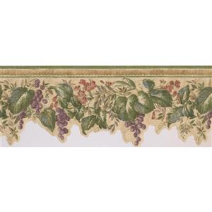 "Retro Art Flowers on Vine Wallpaper Border - 15' x 9"" - Purple"